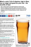 Beer-Full of vitamins, high-fibre, low-sugar and good for your hair  Mail Online (20140723)
