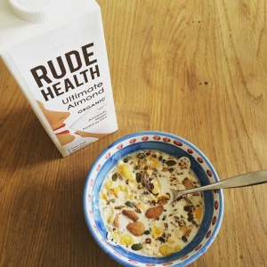 Yum! So excited about the completely natural almond milk from @rudehealth. First One on the market. Almonds, water and nothing else! And magically so tasty. My nut milk bag will be going on the shelf for a while.  #rudehealth #almondmilk #delicious #dairyfree #sugarfree #cleanfood #fitfood #organic