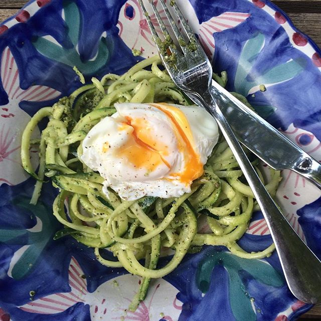 Pesto courgetti with poached egg, just one of the great recipes from the new Green and Lean e-book from @honestlyhealthy #greenandlean #90day #transformation #instahealth #courgetti #spiralized #pesto #paleo #glutenfree #dairyfree #homemade