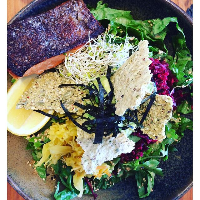 Cosmic salad with ocean trout from @porchandparlour - always my first stop in Sydney. Made with sauerkraut, beetroot, packed with herbs and a tahini dressing it really hit the spot. #cosmicsalad #instahealth #superfood #avocado #sauerkraut #beetroot #tahini #tahinidressing #alfalfa #almondmilk #latte #delicious #raw #fermented